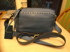 $215 NWT COLE HAAN IVY PITCH STITCH BLUE LEATHER CAMERA 📷 SHOULDER XBODY BAG