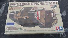 TAMIYA 1/35 WW I BRITISH MK. IV MALE TANK MOTORIZED W/ 5 FIGURES KIT # 30057 F/S
