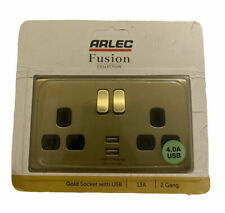 Arlec Fusion Collection Gold Socket With USB 13A 2 Gang
