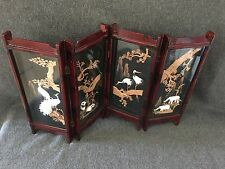 Miniature Chinese Screen Laquer 4 Panels