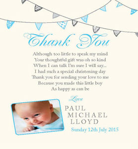 PERSONALISED CHRISTENING THANK YOU CARDS Bunting BLUE with PICTURE Pack of 10