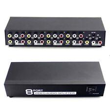 1 Input 8 Output 1x8 Port Splitter Composite 3 Rca Av Video Audio Switcher