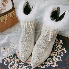 Womens Pointy Toe Rhinestones Crystal Ankle Boots Fur White  High Heel Shoes New