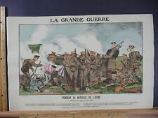 Rare Antique Original VTG WW1 Pendant La Bataille De L'Aisne WWI Litho Art Print