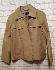 New French Connection Jacket Khaki Double Breasted Cropped Trench Women's Small