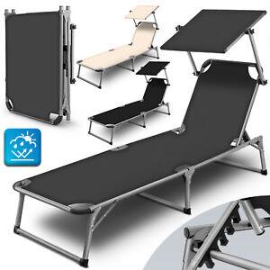 tillvex® Alu Sonnenliege klappbar mit Dach Gartenliege Strandliege Campingliege