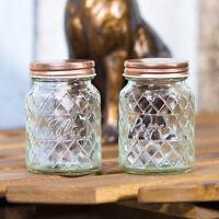 Glass Salt & Pepper Pots with Copper Rose Gold Lids Condiment Shakers Mills Set