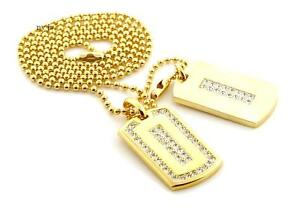 """Iced RICK ROSS DOUBLE DOG TAG 18k GOLD FILLED W 30"""" BALL CHAINS DTC006GS"""