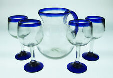 Mexican Glass wine blue rim with matching bola pitcher, hand blown 10 oz glasses