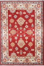 """Red Wool Hand Knotted Carpet Oriental 4'5""""X6'5"""" Indian Handmade Persian Area Rug"""
