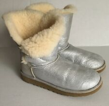 UGG Women's Metalic Silver Leather Bailey Glitter Single Button Low Boots Sz. 6