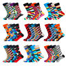 5 Pairs Mens Cotton Socks Lot Colorful Argyle Stripe Grids Casual Dress Socks