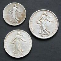 Lot de 3 pièces françaises en argent 1 Franc 2 Francs et 5 Francs Semeuse
