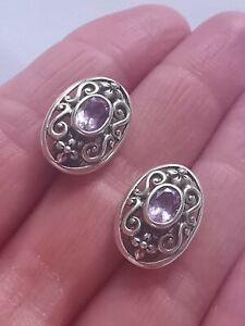 Sterling Silver GENUINE Amethyst Art Nouveau Style Clip On Earrings
