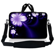 "13.3"" 13 Laptop Mackbook Chromebook Sleeve Bag Case Shoulder Strap Purple Flower"