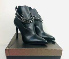 Luxury Rebel Black Leather Stiletto Ankle Boots Back Zip SIENNA w/ Box Sz US 8.5