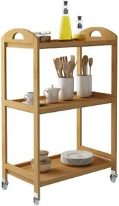 Bamboo Kitchen Serving Trolley Cart 3 Tier Kitchen Storage Rack Soges BNIB