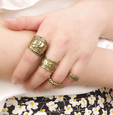 Vintage 4pcs Antique Brass Finger Ring Elephant Joint Knuckle Mid Ring Band