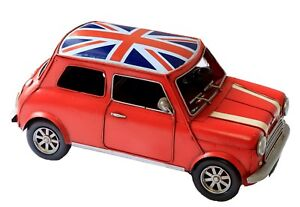 Tin Plate Model of a 1960 Mini Cooper Red With Union Jack Roof (uk seller)