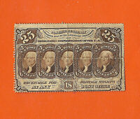FR. 1280 1ST ISSUE 25 CENT FRACTIONAL PERFORATED EDGES W/O MONOGRAM