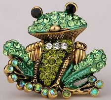Cute Frog Stretch Ring Crystal Rhinestone Animal Fashion Jewelry Gold Green RA30
