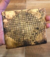 Ancient Old Very Rare Copper Gold work Hand Scripted Hindu Ritual Yantra Plaque