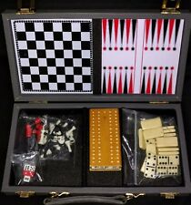 Vintage Traveling Game Set Portable Checkers Backgammon