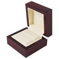 Red Wood Jewelry Ring Display Organizer Box Holder Storage Case 60x60x45mm