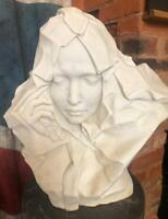 Art Nouveau / Art Deco Style Solid Carved Marble Veiled Lady Bust