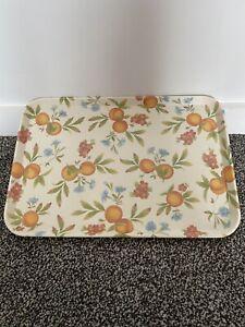 """Beautiful Vintage Look Orange Design Melamine Tray Cloverleaf England 17"""""""