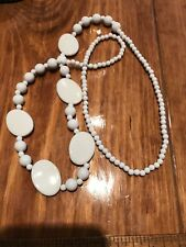 Vintage Plastic Retro White Bead Necklace 38""