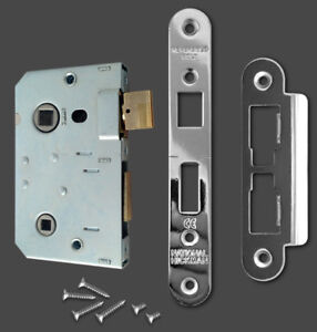 National Hickman Bathroom lock body with chrome face plate & fixings * new *