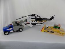 Lot of 3 Tonka Police Helicopter & Truck with Sounds Wood Bulldozer