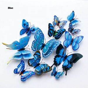 12Pcs Double layer 3D Butterfly Wall Sticker Home decoration Magnet Fridge
