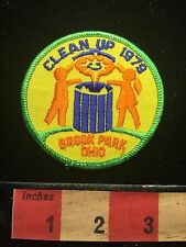 Vtg 1979 Brook Park Ohio Jacket Patch ~ Clean Up Ecology Environment Litter 67U8