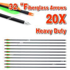 "20x Fiberglass 32"" Arrows 15-80LB Archery Hunting Target Recurve Compound Bow"