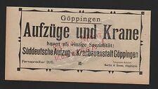 GÖPPINGEN, Werbung 1912, Süddt. Aufzug-Kranbauanstalt
