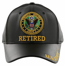 NEW! US ARMY RETIRED FAUX LEATHER BALL CAP HAT BLACK