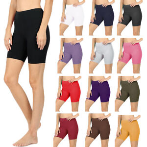 Womens Cotton Spandex Solid Biker Shorts Yoga Mid Thigh Bermuda Leggings