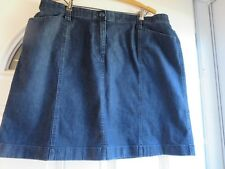 PLUS SIZE ATTRACTIVE STRETCHY DARK BLUE DENIM/JEANS SKIRT BY L.L. BEAN:SIZE 20P
