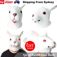 Rabbit Head Mask Creepy Animal Halloween Costume Theater Prop Latex Party Toys