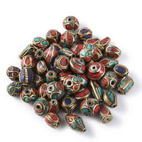 50 Random Tibetan Brass Metal Beads Antiqued Coral Turquoise Loose Spacer 8~13mm
