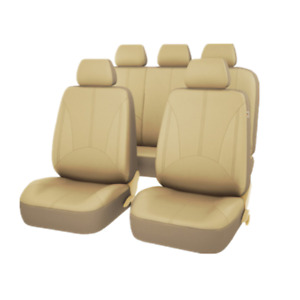 PU Leather Car Seat Cover Protector Cushion Front Rear Full Set Beige Breathable