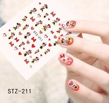 Nail Art Water Decals Stickers Transfers Red Bows Hearts Minnie Mouse (STZ211)