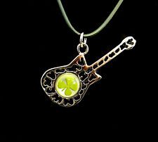 """Real four leaf clover with elegant guitar cord 19"""" with extension"""
