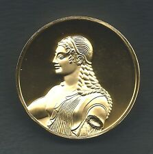 """THE APOLO FROM VEII, c. 510 B.C., Villa Giulia, ROME Medal 2"""" Gold Plated M12"""