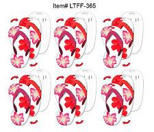SetOf6 - Lenticular Flip Luggage Tag Flip Flop Shape Hawaiian Flowers #LTFF-365#