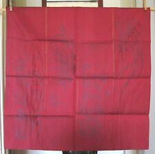 "VINTAGE JAPANESE BANNER/FLAG~RAYON/POLYESTER FABRIC~BURGUNDY~GOLD THREAD~26""X37"""