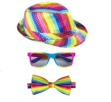 Unisex Rainbow Sequinned Fedora Hat Glasses Bow Tie Gay Pride Carnival Fancy
