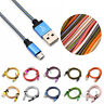 Universal Micro USB A to USB 2.0 B Braided Fast Data Sync Charger Cable Cord Lot
